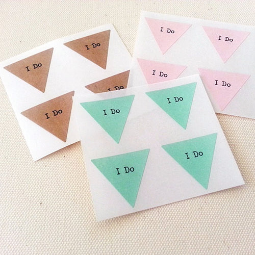 I Do Wedding Stickers - Triangle Wedding Labels