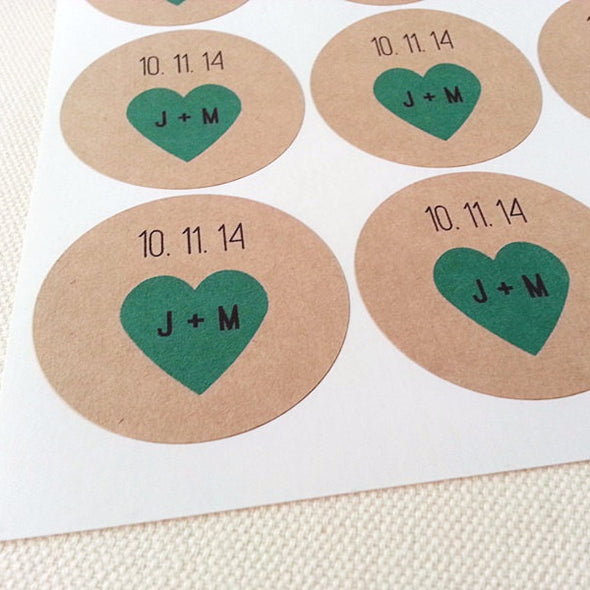 Custom Mason Jar Labels Wedding Favors with Teal Hearts - Once Upon Supplies