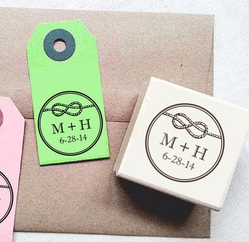 Personalized Wedding Rubber Stamp. Tie the Knot Stamp - Once Upon Supplies