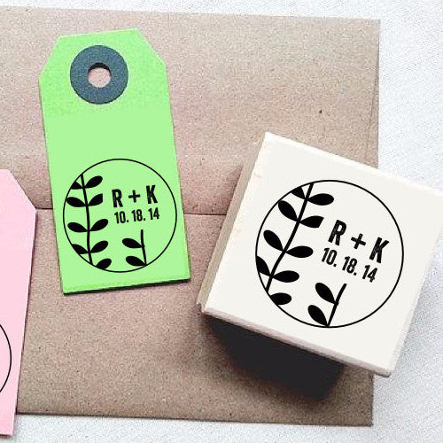 Personalized Wedding Rubber Stamp. Wedding Custom Stamp. Beanstalk Plant Sprouts Design. Wedding Favors Supplies. Once Upon Supplies - Once Upon Supplies