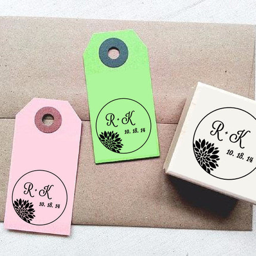 Elegant Mum Flower Custom Rubber Stamp with Initials and Date - Once Upon Supplies