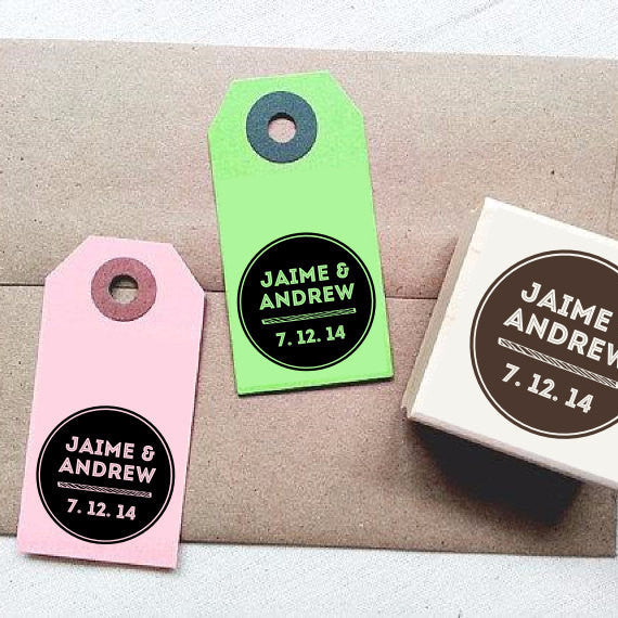 Modern Monogram Personalized Rubber Stamp with Initials and Date - Once Upon Supplies