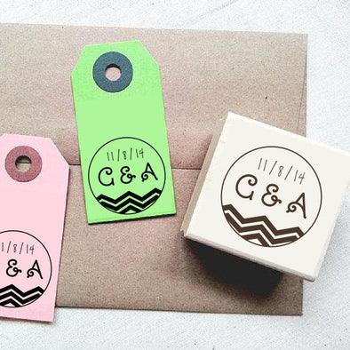 Chevron Stripes Personalized Rubber Stamp with Initials and Date - Once Upon Supplies