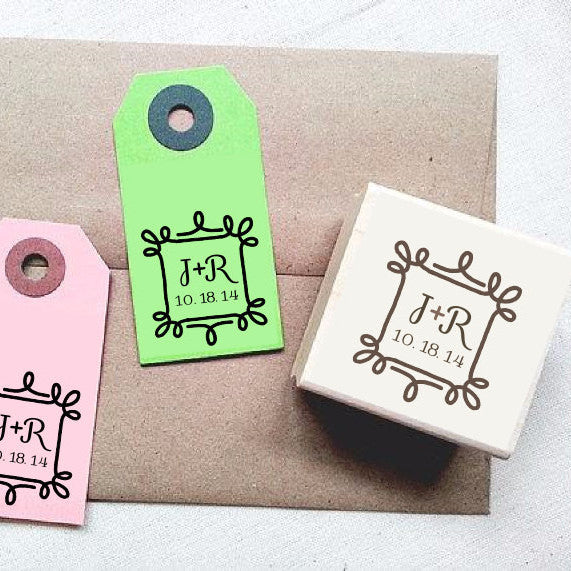 Custom Wedding Stamp with Ornate Frame Design - Once Upon Supplies
