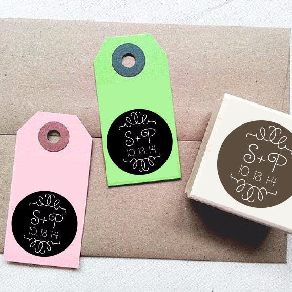 Modern Bracket Custom Rubber Stamp with Initials and Date. DIY Wedding Tags Favors Supplies. Personalized Wedding Rubber Stamp. - Once Upon Supplies