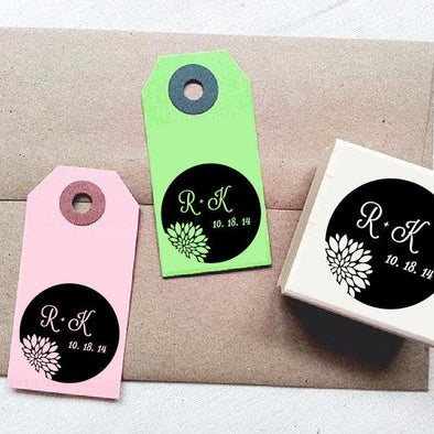 Elegant Chrysanthemums Custom Rubber Stamp with Initials and Date. DIY Wedding Favor Supplies - Once Upon Supplies