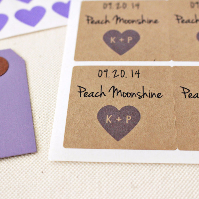 Square Shape Wedding Favor Seals with Custom Initials and Date - Once Upon Supplies
