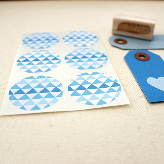 Blue Tribal Geometric Triangles Stickers - Once Upon Supplies - 3