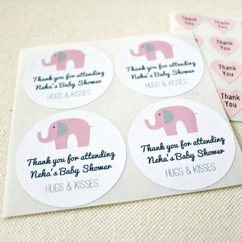 Pink Elephant Baby Shower Favor Seals Labels Stickers. Mason Jar Labels. Girls Birthday Party Favor Labels Stickers - Once Upon Supplies