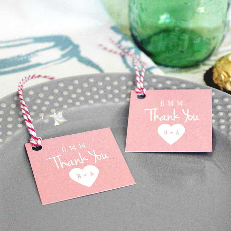 Custom Pink Heart Gift Tags. Pink Wedding Favor Tags. Mason Jar Tags - Once Upon Supplies - 1