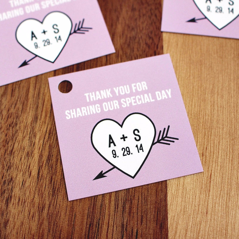 Heart and Arrow Wedding Favor Hang Tags - Once Upon Supplies - 1