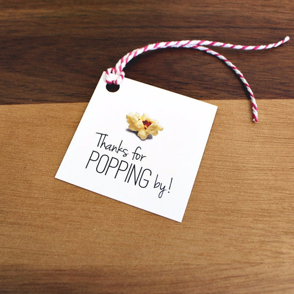 Thanks for Popping By Tags - Popcorn Favor Tags