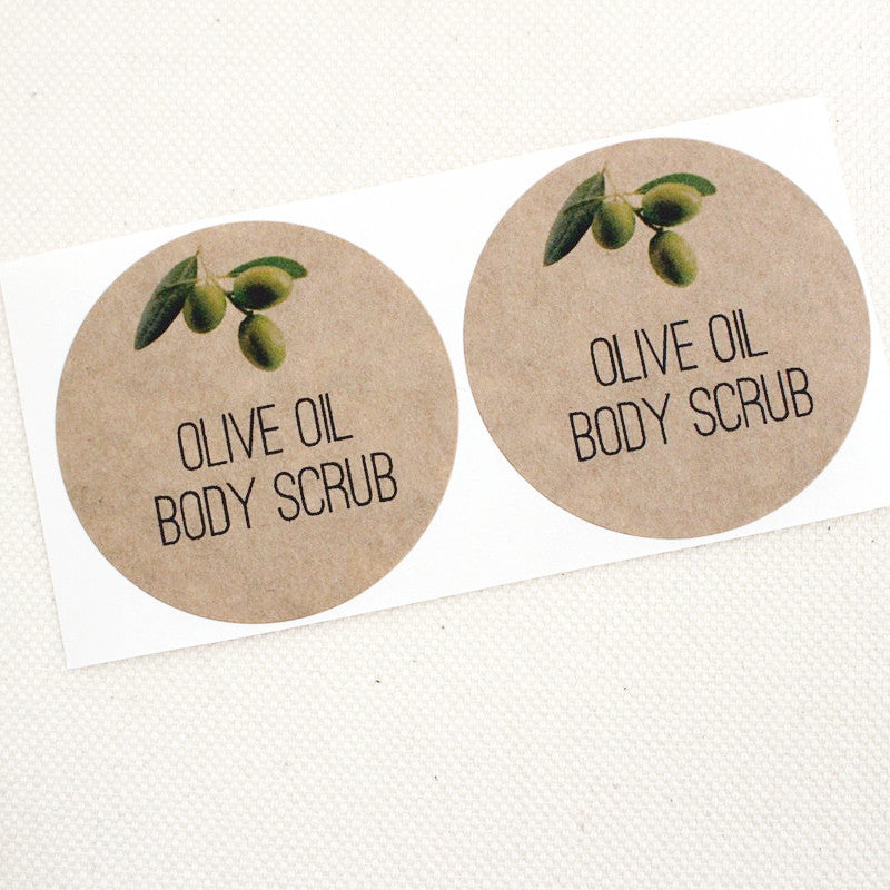 Olive Oil Scrub Round Kraft Labels - Once Upon Supplies