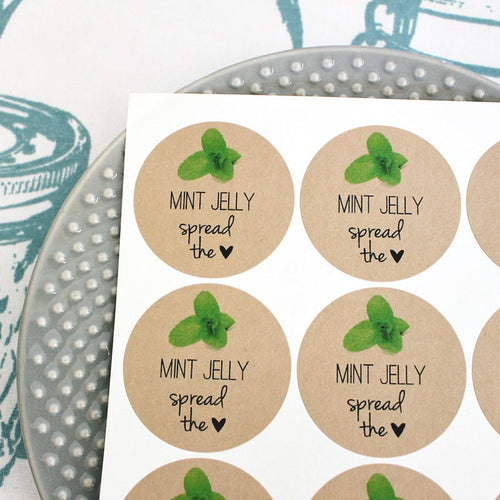 Mint Jelly Spread the Love Mason Jar Labels Canning Labels - Once Upon Supplies - 1