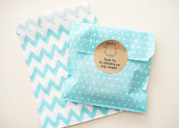 Medium Light Blue Polka Dots Birthday Party Treat Bags Favor Pouches - Once Upon Supplies - 2