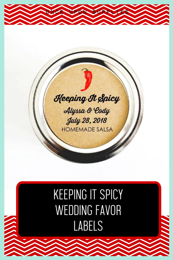 keeping it spicy wedding favor labels for salsa and hot sauce