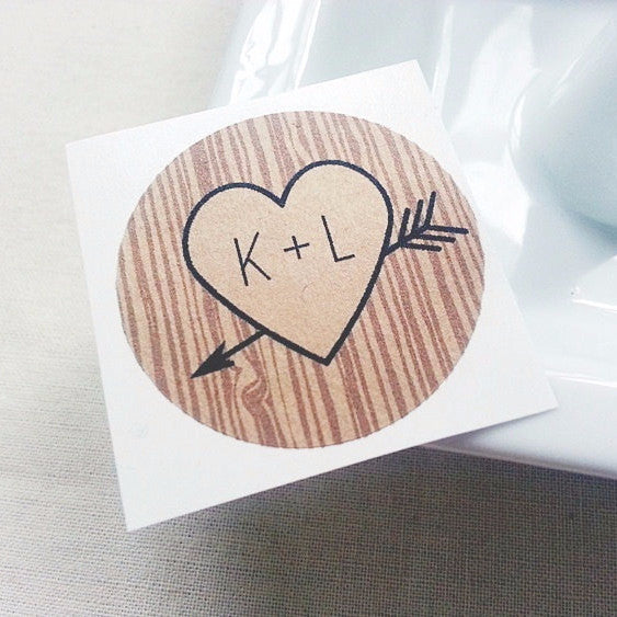 kraft brown custom initials heart and arrow wedding stickers