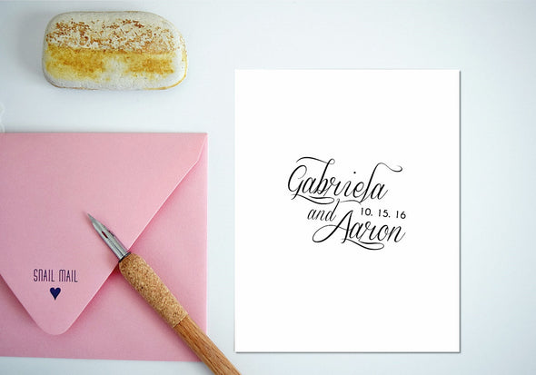 Personalized Stamp for Weddings - Script Calligraphy
