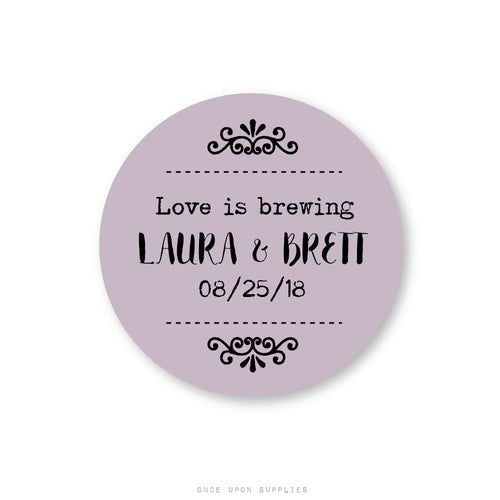 Love Is Brewing Tea Favor Labels for Weddings and Bridal Showers - Once Upon Supplies