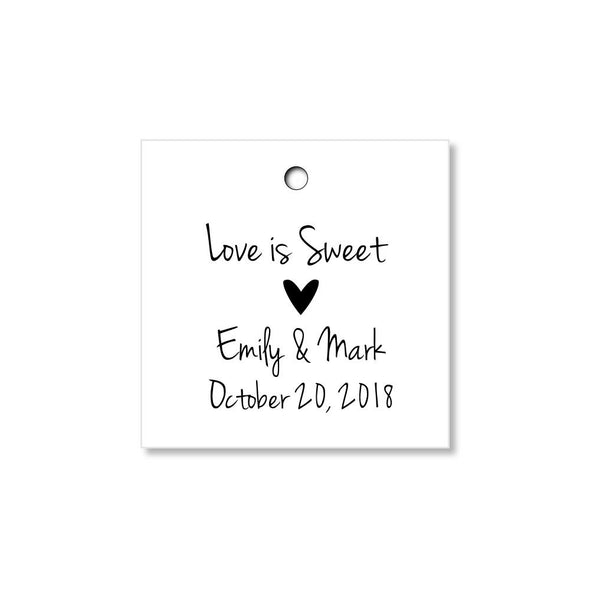 Love is Sweet Personalized Wedding Tags - Once Upon Supplies