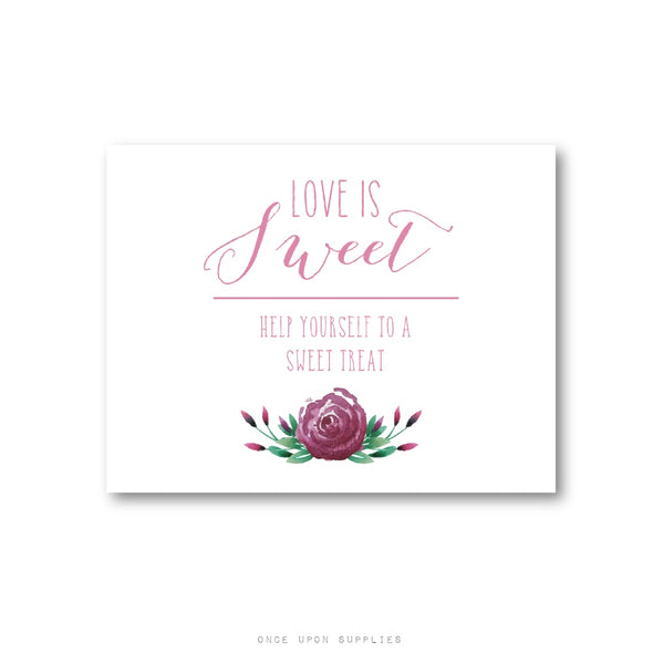 Pink Rose Love Is Sweet Wedding Favor Sign - Printable PDF or Printed - Once Upon Supplies