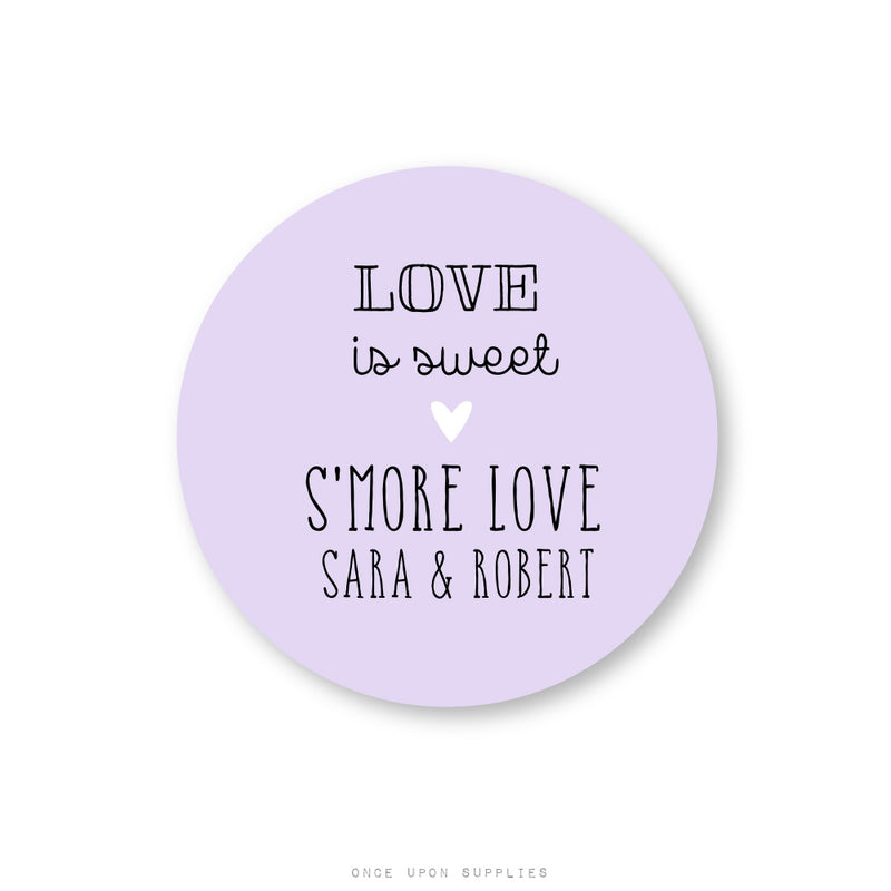 Personalized S'more Love Favor Stickers for Weddings - Once Upon Supplies
