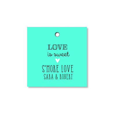 S'more Love Wedding Tags for Favors - Turquoise - Once Upon Supplies