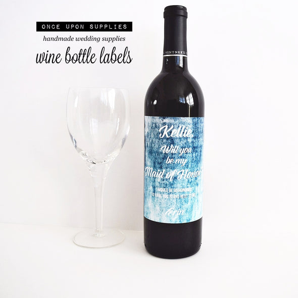 maid of honor proposal wine labels blue turquoise watercolor