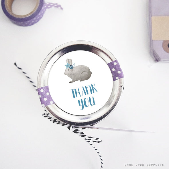 blue bunnies thank you labels mason jar stickers