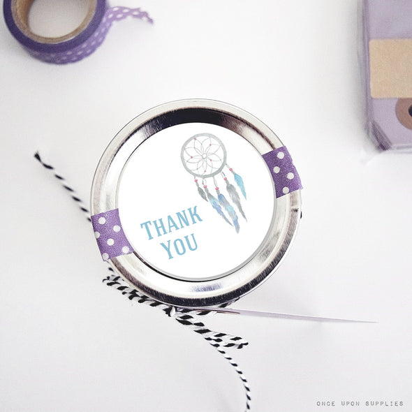 Dreamcatcher thank you labels for canning jar lids