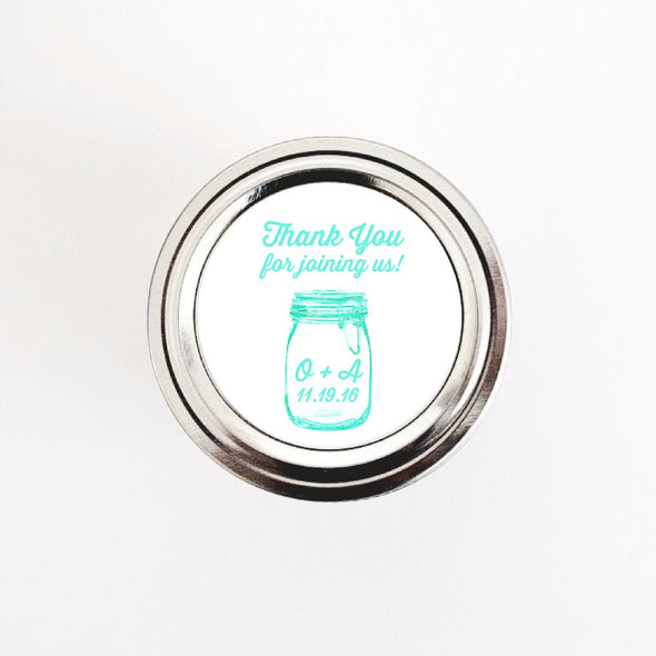 Personalized Mason Jars Labels for Weddings - Turquoise Mason Jar