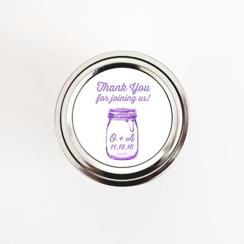 Purple Mason Jar Wedding Favor Stickers - Once Upon Supplies