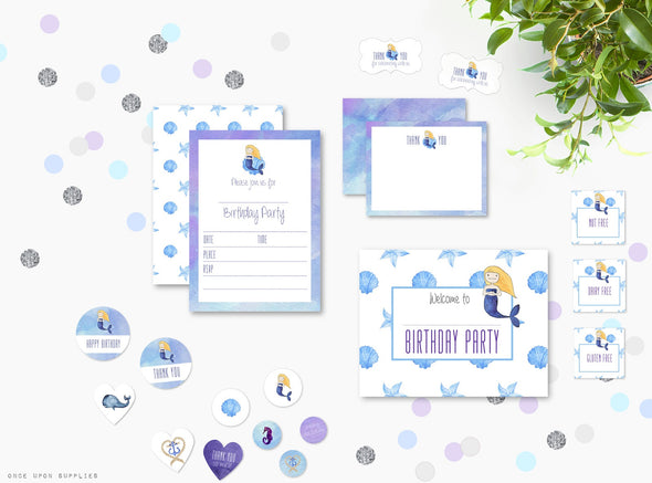 Mermaid Birthday Party Invitation & Party Supplies