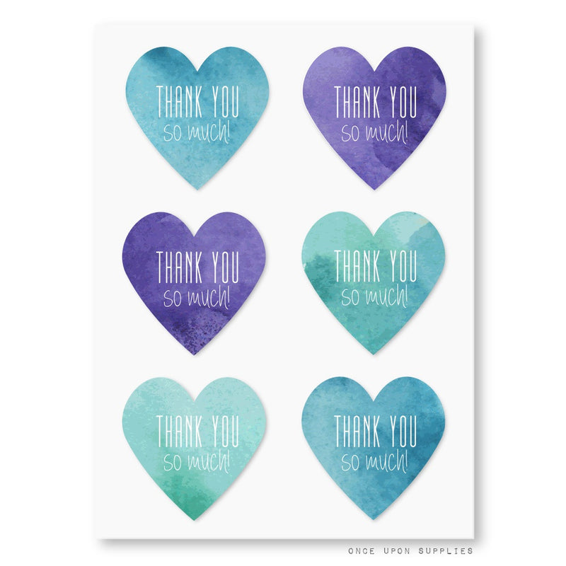 Thank You So Much Heart Stickers in Purple Turquoise and Blue