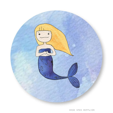 Mermaid Stickers, Cupcake Toppers, Mason Jar Labels