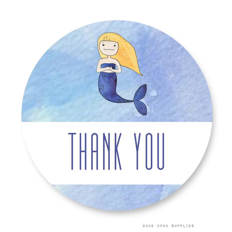 Mermaid Thank You Stickers