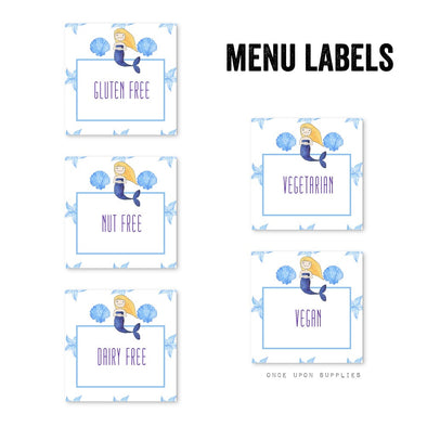 Mermaid Birthday Party Food Allergy Labels