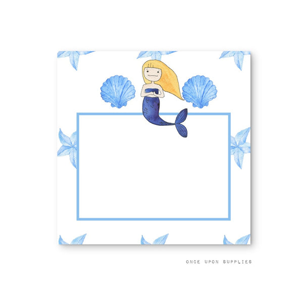 Mermaid Birthday Party Square Stickers and Labels