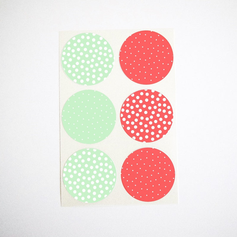 christmas mint and red polka dots stickers gift wrap envelope seals