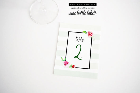 mint green soft watercolor florals table number stickers