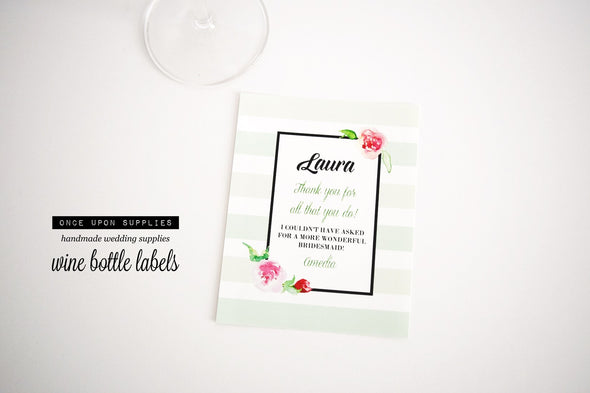 mint green stripes watercolor floral bridesmaid wine labels