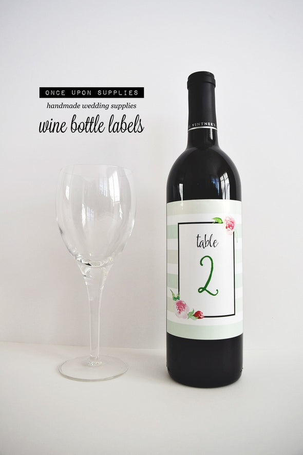 mint green watercolor florals table number wine labels