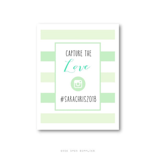 Wedding Hashtag Sign Poster with Mint Green Stripes - Downloadable PDF or Printed