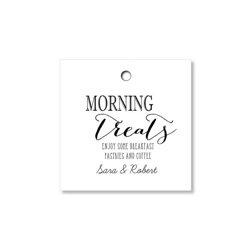 Morning Treats Tags for Wedding Welcome Gifts and Wedding Favors - Once Upon Supplies