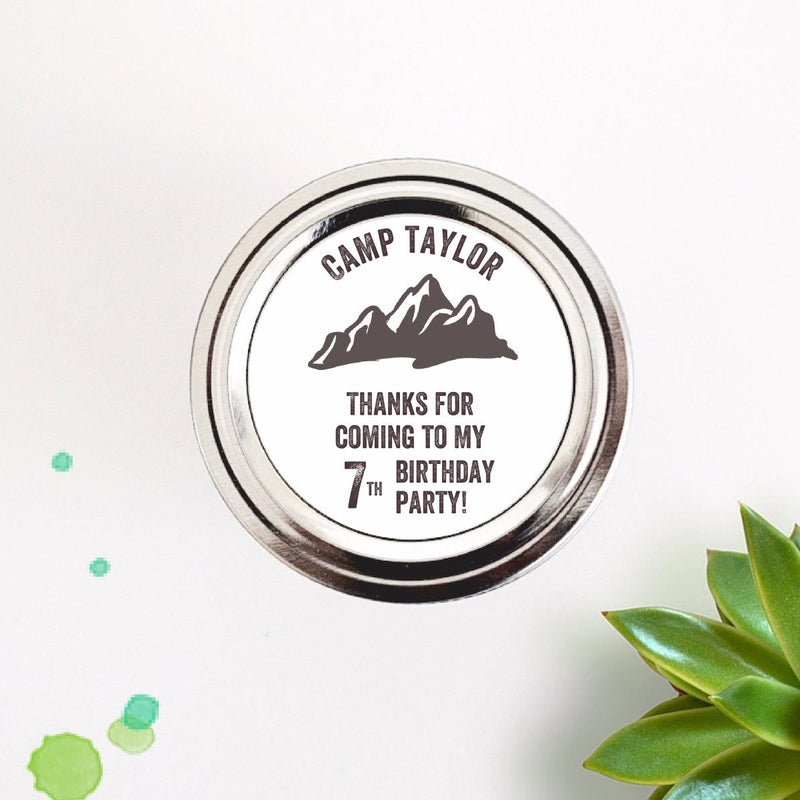 Mountain Camp Theme Birthday Party Favor Mason Jar Labels - Once Upon Supplies