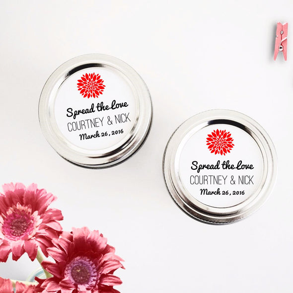 Spread the Love Jam Jar Labels with Mum Flower for Weddings