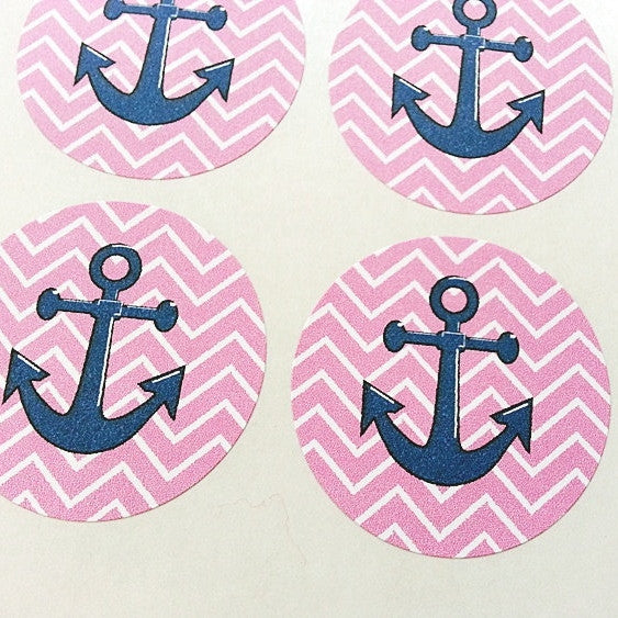 pink chevron nautical anchor stickers