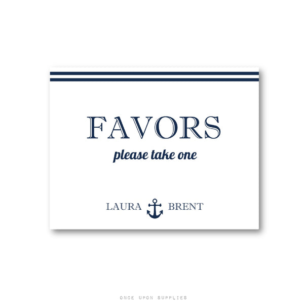 Nautical Anchor Take A Favor Sign For Weddings Bridal Showers And Bir