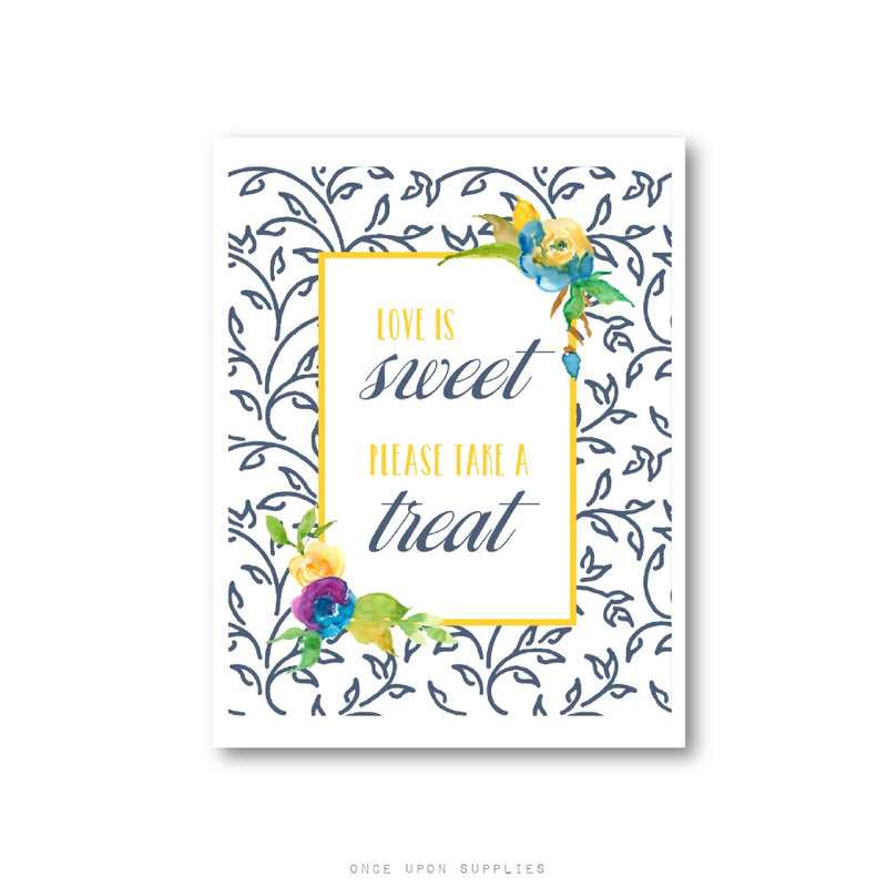 Floral Wedding Please Take a Favor Sign - Once Upon Supplies