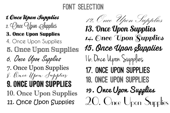 once upon supplies font choices